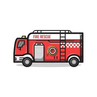 Pojazd straży pożarnej z rurą przeciwpożarową w unikalnej minimalistycznej ilustracji grafiki liniowej