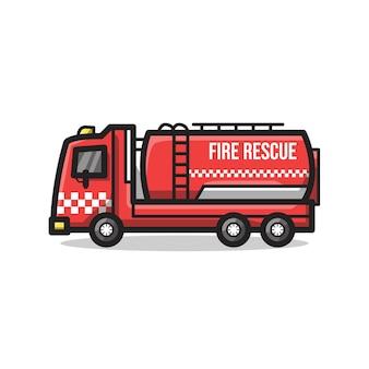 Pojazd straży pożarnej ze zbiornikiem na wodę w unikalnej minimalistycznej ilustracji grafiki liniowej