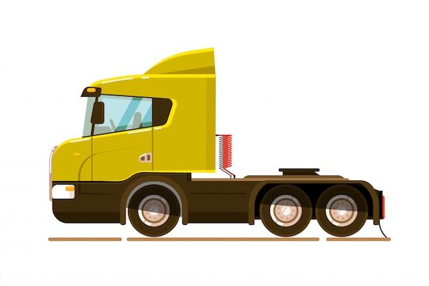 Pojazd towarowy. jednostka transportu pół ciężarówki na białym tle. ilustracja wektorowa pojazdu transportu ładunku. widok z boku