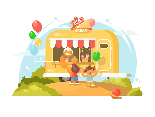 Pojazd z lodami. szczęśliwe dzieci kupują słodkie lody. ilustracja