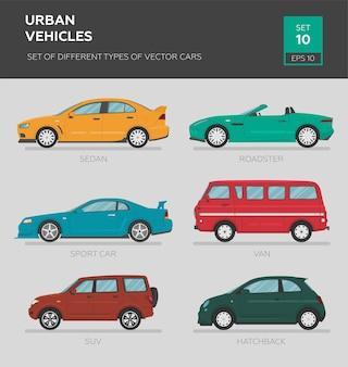 Pojazdy miejskie. zbiór różnych typów samochodów wektorowych sedan
