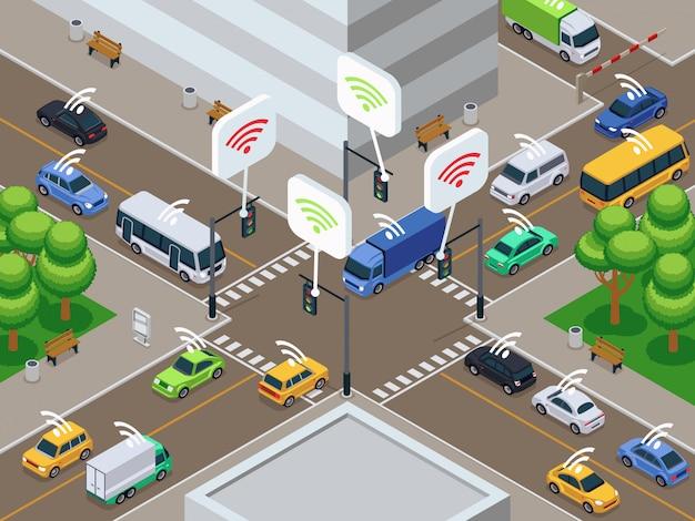Pojazdy z czujnikiem podczerwieni. bezpilotowi mądrze samochody w miasto ruchu drogowego wektoru ilustraci