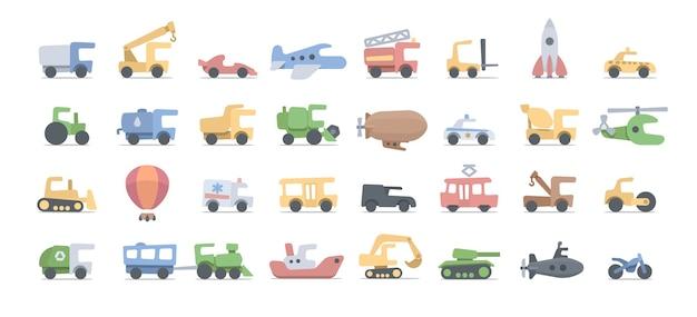 Pojazdy z kreskówek dla dzieci. fauny transport rysunkowy do zabawy i edukacji. białe tło