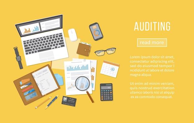 Pojęcia dotyczące audytu. analiza finansowa, analityka, zbieranie danych, planowanie, statystyki, badania. dokumenty, formularze, wykresy, wykresy, kalendarz, kalkulator, notes, wizytówka. widok z góry.