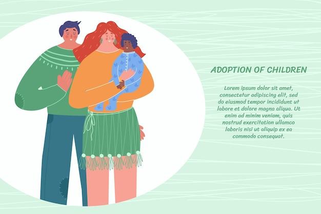 Pojęcie adopcji dzieci. rodzina adoptowała dziecko. z miejscem na twój tekst.