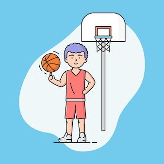 Pojęcie aktywnego sportu i zdrowego stylu życia. młody wesoły chłopiec gra w koszykówkę w szkole lub na uniwersytecie. gracz koszykówki. gry sportowe. kreskówka liniowy zarys płaski styl wektor ilustracja.
