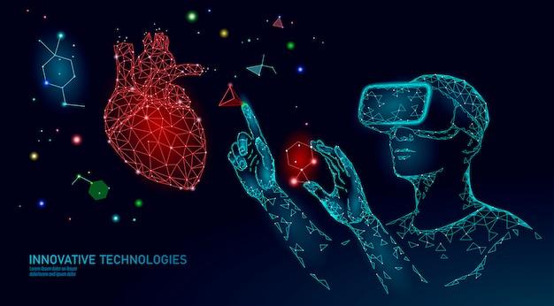 Pojęcie badań operacyjnych kardiologii nauki. holograficzna projekcja okularów wirtualnej rzeczywistości z zestawem vr futurystycznej medycyny zdrowie analizy serca pilota laboratorium doktorska online ilustracja