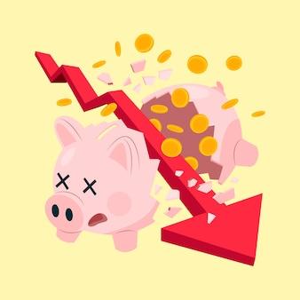 Pojęcie bankructwa złamane skarbonka