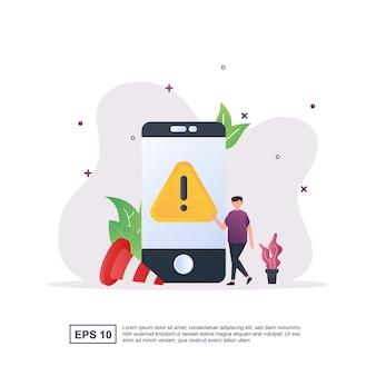 Pojęcie błędu aplikacji ze znakami ostrzegawczymi na ekranie telefonu i stożkach