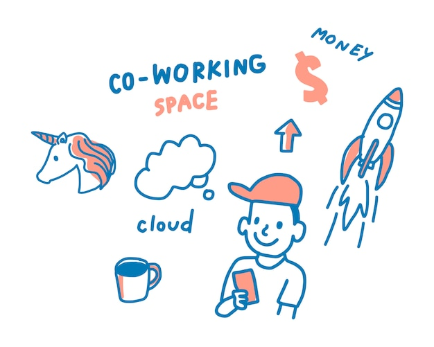 Pojęcie coworking interliniuje ilustrację