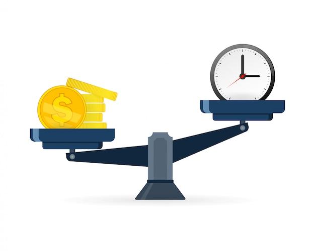 Pojęcie czasu i pieniędzy. czas jest cenniejszy niż pieniądze. czas to pieniądz na ikonie wagi