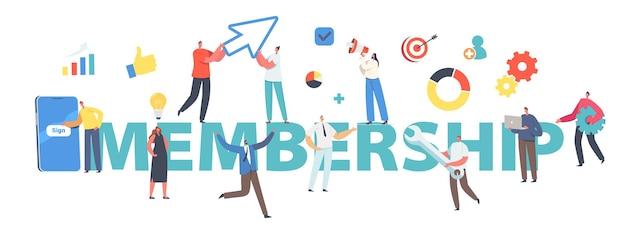 Pojęcie członkostwa. rejestracja i rejestracja online nowego użytkownika. małe postacie rejestrują się lub logują do konta na ogromnym smartfonie screenposter, baner lub ulotka. ilustracja wektorowa kreskówka ludzie