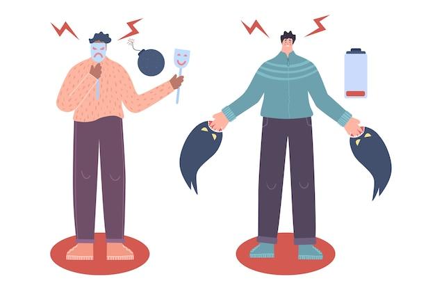 Pojęcie depresji. mężczyzna zmienia maskę. zmienny nastrój. druga osoba jest ciągnięta w różnych kierunkach przez potwory.