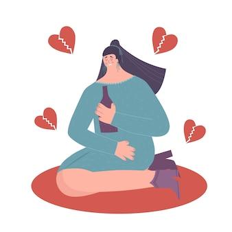 Pojęcie depresji. smutna, samotna kobieta.