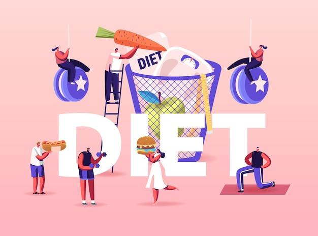 Pojęcie diety. drobne postacie cieszące się niezdrową ilustracją fast foodów