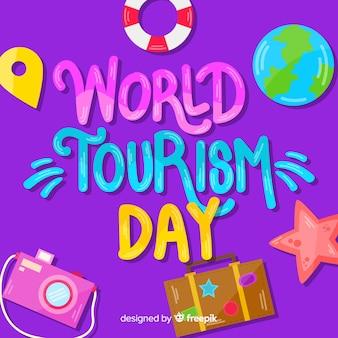 Pojęcie dnia turystyki z napisem