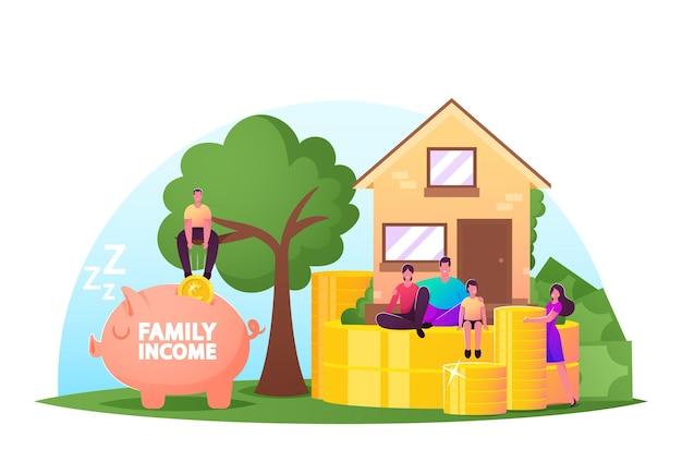 Pojęcie dochodu rodziny. małe postacie męskie i żeńskie wokół ogromnego domu ze stosami monet i skarbonką. ludzie zarabiają i oszczędzają pieniądze, uniwersalny dochód podstawowy. ilustracja wektorowa kreskówka ludzie