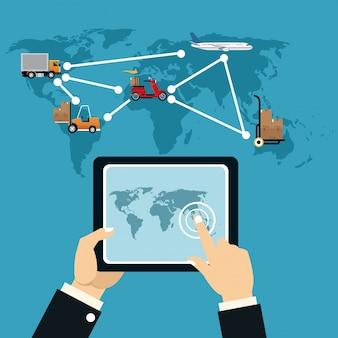 Pojęcie dostawy usługi online logistyczny transport ładunków