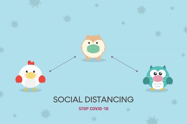 Pojęcie dystansu społecznego. ilustracja zapobiegania koronawirusowi (covid-19). cute owl, chicken and dog - pomorska puppy postać w masce medycznej. zatrzymaj koronawirusa.