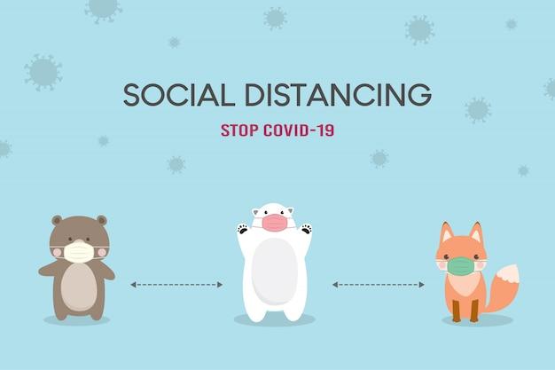 Pojęcie dystansu społecznego. ilustracja zapobiegania koronawirusowi (covid-19). słodki miś, niedźwiedź polarny i lis nosi maskę medyczną. zatrzymaj koronawirusa.