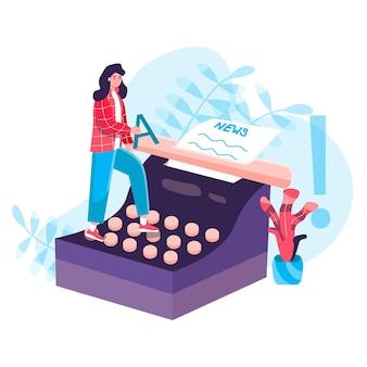 Pojęcie dziennikarstwa. kobieta dziennikarka pisze wiadomości na temat rocznika maszyny do pisania. twórczy pisarz lub praca w internetowych środkach masowego przekazu scena postaci symbolu. ilustracja wektorowa w płaskiej konstrukcji z działaniami ludzi