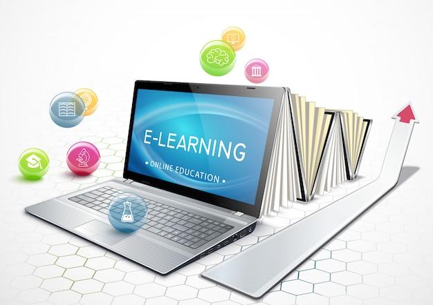 Pojęcie e-learningu. edukacja online. laptop jako ebook. zdobycie wykształcenia. ilustracja.