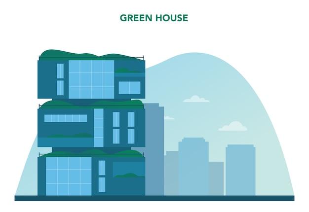 Pojęcie ekologii. ekologiczny budynek mieszkalny z pionowym lasem i zielonym dachem. alternatywne źródła energii i zielone drzewo dla dobrego środowiska w mieście. ilustracja na białym tle wektor