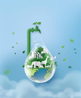 Pojęcie ekologii i światowy dzień wody. sztuka papierowa i cyfrowy styl rękodzieła.