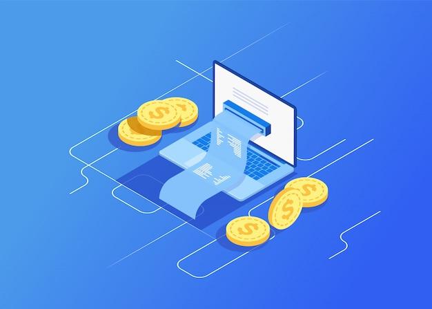Pojęcie elektroniczny rachunek i online bank, laptop z czek taśmą