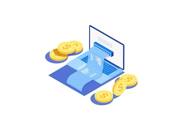 Pojęcie elektroniczny rachunek i online bank, laptop z czek taśmą.
