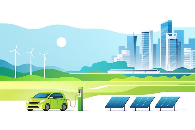 Pojęcie energii odnawialnej. zielone miasto. krajobraz miejski z panelami słonecznymi, stacją ładowania samochodów elektrycznych i turbinami wiatrowymi. ilustracja.
