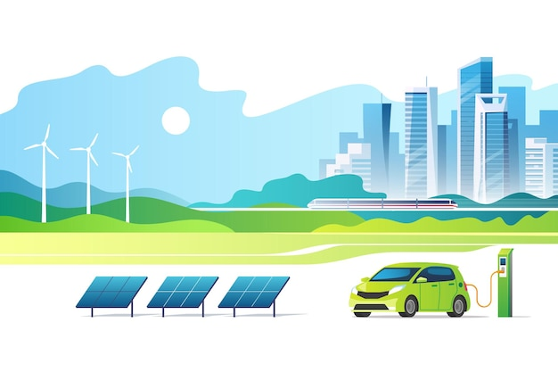 Pojęcie energii odnawialnej. zielone miasto. krajobraz miejski z panelami słonecznymi, stacją ładowania samochodów elektrycznych i turbinami wiatrowymi.