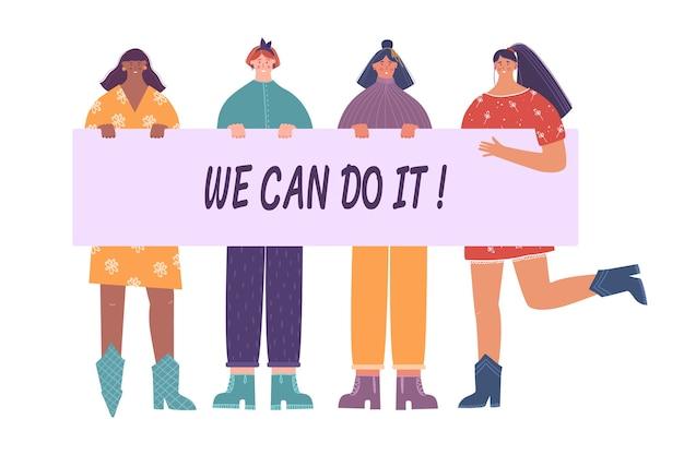Pojęcie feminizmu. międzynarodowy dzień kobiet. ilustracja kobiet trzymających tabliczkę.