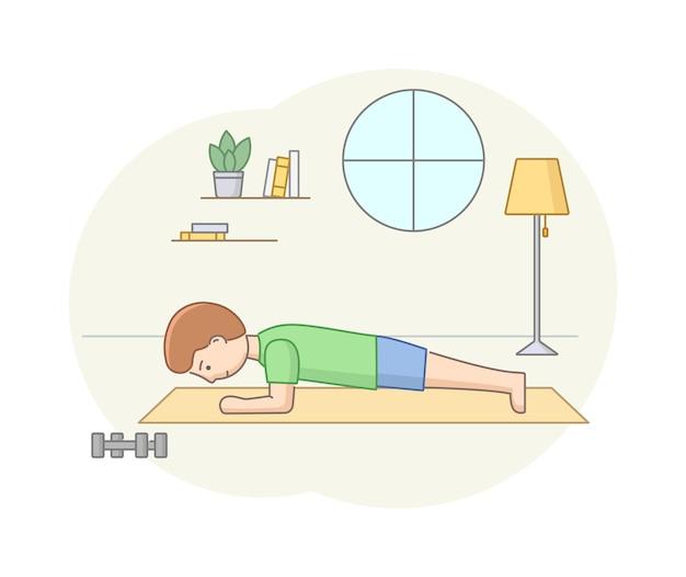 Pojęcie fitness, opieka zdrowotna i aktywny sport. męska postać ćwiczy w siłowni lub w domu na fitness mate. młody człowiek robi trening siłowy z hantlami. ilustracja wektorowa płaski zarys liniowy.