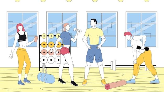 Pojęcie fitness, opieki zdrowotnej i aktywnego sportu. grupa ludzi kulturystów ćwiczenia w siłowni. mężczyźni i kobiety chodzą razem na zajęcia fitness. kreskówka liniowy zarys płaski styl wektor ilustracja.