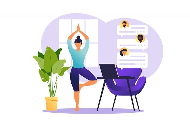 Pojęcie freelancer kobieta ćwiczy joga i medytację w domu. dziewczyna siedzi w pozycji lotosu, procesu myślowego, początku i poszukiwania pomysłów. zarządzanie czasem. ilustracja.