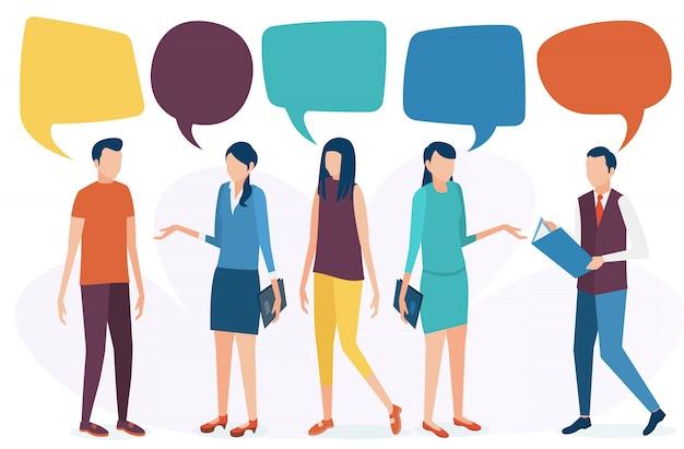 Pojęcie komunikacji społecznej. ludzie rozmawiają, dyskutują i prowadzą dialog. sieci społecznościowe, czat, forum. ilustracja wektorowa w stylu płaski.