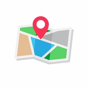 Pojęcie lokalizacji, ikona płaska konstrukcja stylu mapy