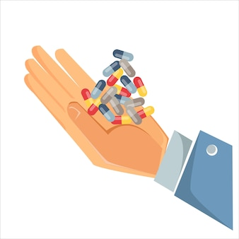 Pojęcie medycyny i lekarstwa na chorobę i przeziębienie ręka trzyma górę lub wiązkę