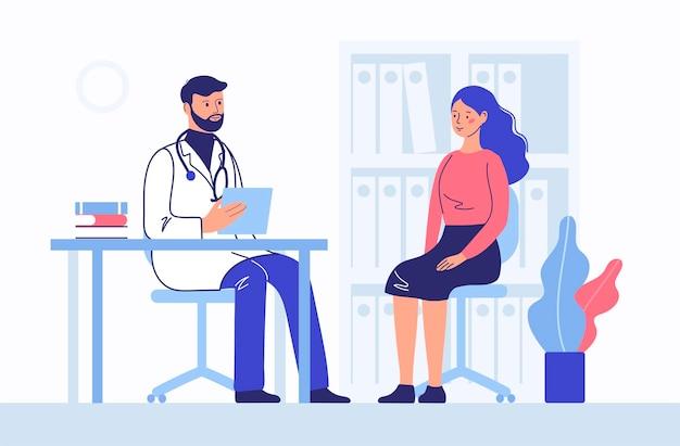 Pojęcie medycyny z pacjentem lekarz i kobieta. konsultacje i diagnostyka.