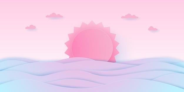 Pojęcie miłości, seascape, pochmurne niebo z różowym słońcem i morzem, papierowy styl artystyczny