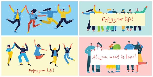 Pojęcie młodych ludzi skaczących na niebieskim tle. stylowa, nowoczesna karta ilustracji wektorowych ze szczęśliwymi nastolatkami płci żeńskiej i męskiej oraz cytatem rysunkowym ciesz się życiem w stylu mieszkania