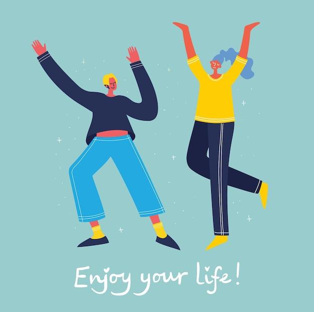 Pojęcie młodych ludzi skaczących na niebieskim tle. stylowa, nowoczesna karta ilustracji wektorowych ze szczęśliwymi nastolatkami płci żeńskiej i męskiej oraz cytatem z rysunku ręcznego ciesz się życiem w stylu mieszkania