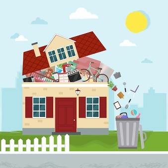 Pojęcie nadmiernego konsumpcjonizmu. dom pęka w szwach. wyrzucanie rzeczy z domu.