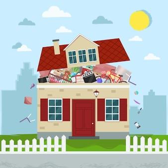 Pojęcie nadmiernego konsumpcjonizmu. dom pęka w szwach.