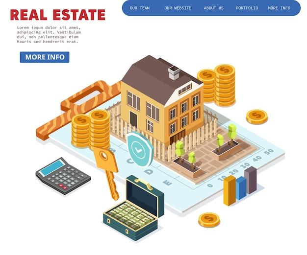 Pojęcie nieruchomości. dom na sprzedaż. ilustracja izometryczna.