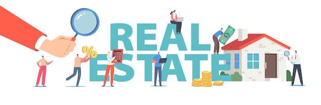 Pojęcie nieruchomości. postacie usługi hipoteczne, kupowanie domu, mały człowiek posiadający ogromny procent w pobliżu budynku, plakat z oceną wartości domu, baner, ulotka. ilustracja wektorowa kreskówka ludzie