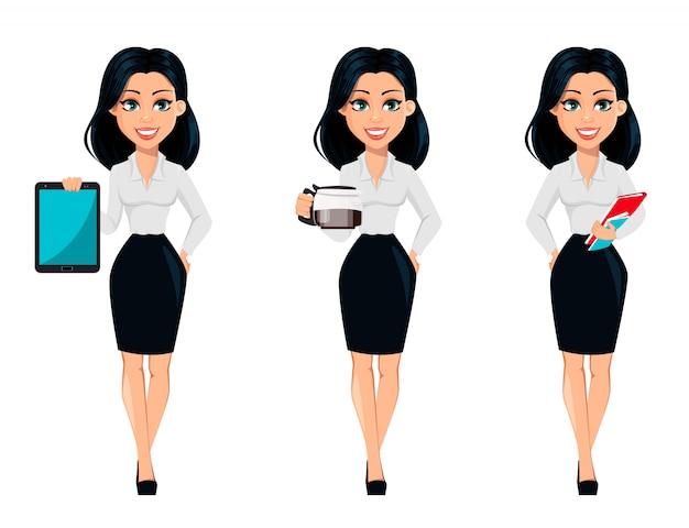 Pojęcie nowożytna młoda biznesowa kobieta, set