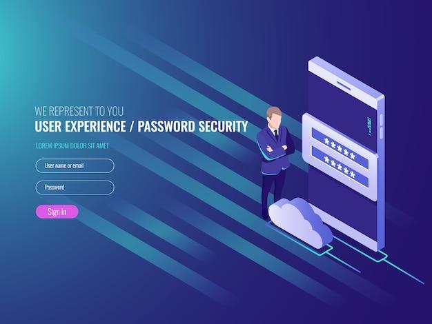 Pojęcie obłoczna serwer dane exchenge, chmur usługa, mądrze zegarek z biznesmenem