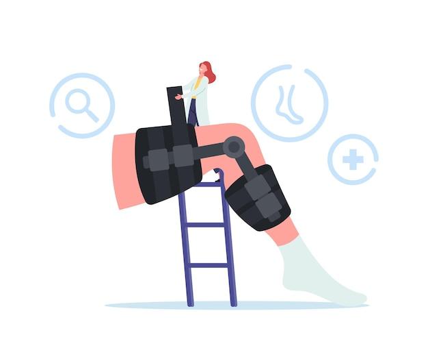 Pojęcie opieki medycznej. postać małego lekarza ortopedy zainstaluj bandaż na ogromnej nodze ze złamaniem kości. leczenie pacjenta w szpitalu lub klinice ortopedii. ilustracja kreskówka wektor